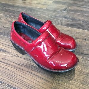 Born B.O.C Red Patent Leather Clogs